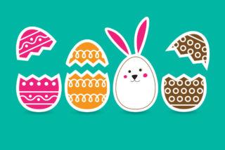 ilustración huevos de pascua y conejo