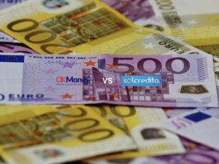 fondo dinero frente: logos Okmoney y Solcredito