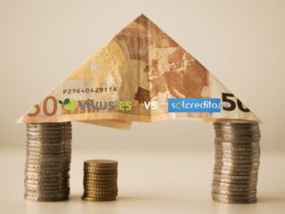 casa origami de billetes y monedas