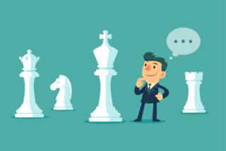ilustración pensando y fichas de ajedrez