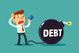 ilustración de un hombre asustado por una bomba de deudas