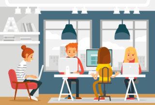 ilustracion de una oficina con gente y ordenadores