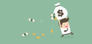 ilustración de un niño corriendo con una bolsa de dinero