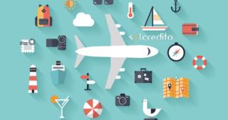 ilustracion de un avion y otros objetos de vacaciones
