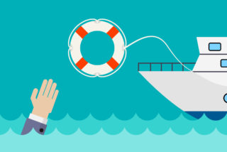 ilustración de un bote lanzando un salvavidas a una mano que pide ayuda