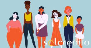 ilustración de grupo de gente diferente y logo de solcredito