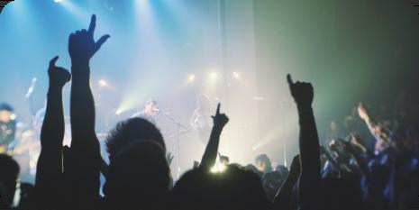 gente levantando las manos en un concierto